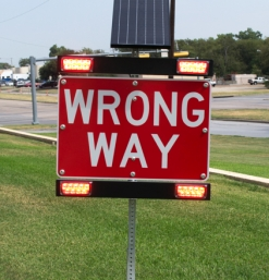 Solar Powered Wrong Way Warning System