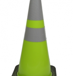 """28 """" lime green traffic cone with reflective collars"""